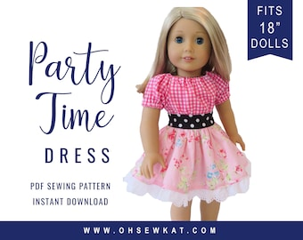 Doll Dress Sewing Pattern for 18 inch Doll Clothes Party Time Peasant Dress Easy to Sew doll clothes by OhSewKat Sewing Pattern for dolls