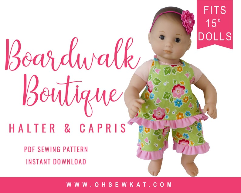 Bitty Baby Doll Clothes Sewing Pattern  15 inch Baby image 0