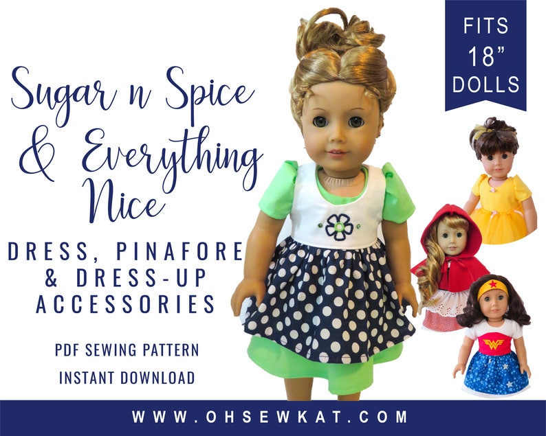 Doll Clothes Sewing Pattern for 18 inch doll clothes Princess image 0