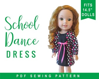 "Wellie Wishers Doll Clothing Sewing Pattern fits 14.5"" dolls like WellieWishers™ - School Dance Dress PDF pattern by Oh Sew Kat!"