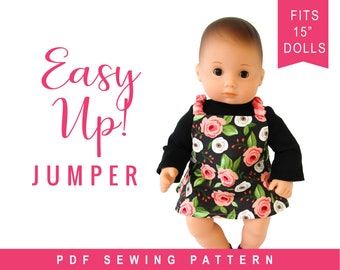 Doll Clothes Sewing Pattern for 15 inch baby doll clothes - Reversible Pull on Jumper sewing pattern - Easy Up! PDF pattern by OhSewKat