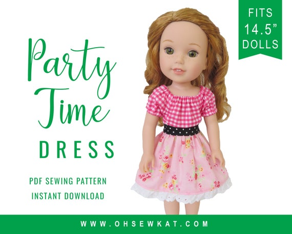 Doll Clothes Pattern For Welliewishers 145 Inch Party Time Etsy