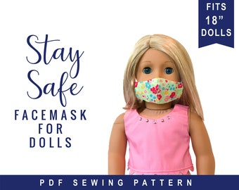 Doll Mask Sewing Tutorial for 18 inch and other size dolls.  PDF digital pattern for doll sized face mask by OhSewKat