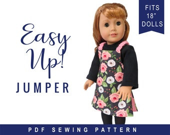 """Oh Sew Kat! Reversible Jumper Doll Clothes Sewing Pattern Designed to Fit 18"""" Dolls such as American Girl® - PDF"""