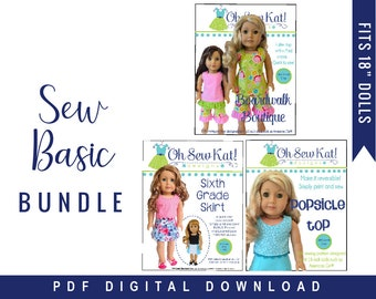 18 inch Doll Clothes Sewing Patterns- Bundle of 3 patterns to make a basic doll wardrobe - 2 tops, 1 skirt, 1 pants by Oh Sew Kat PDF