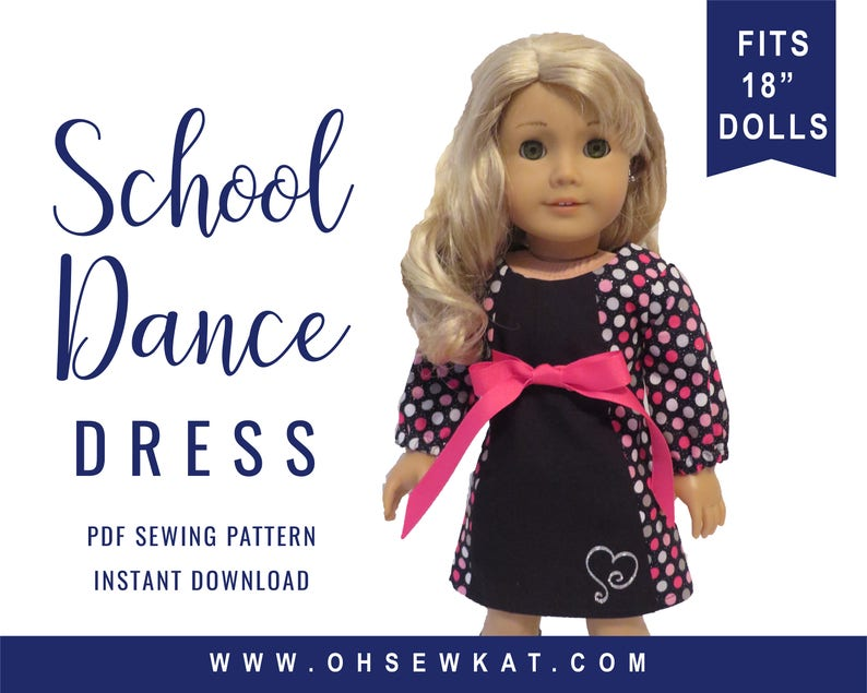 PDF Sewing Pattern for Dolls like 18 inch American Girl ® Doll image 0