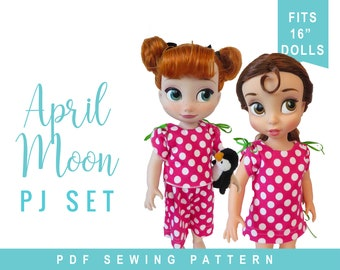 Pajamas & Nightgown Sewing Pattern for 16 inch Animator ® Doll Clothes -  April Moon PJ Set - PJ's Nightshirt - PDF ebook tutorial for dolls