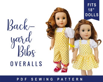 Doll Clothes Sewing Pattern for 18 inch doll clothes overalls sewing pattern - Backyard Bibs - Romper Shortalls  Skirt PDF digital pattern