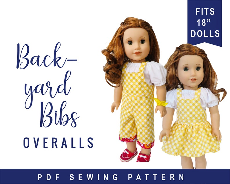 Doll Clothes Sewing Pattern for 18 inch doll clothes overalls image 0