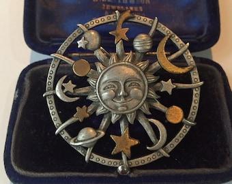 Vintage Sun and Moon Brooch, Sun Brooch, Moon Brooch, Sun jewellery