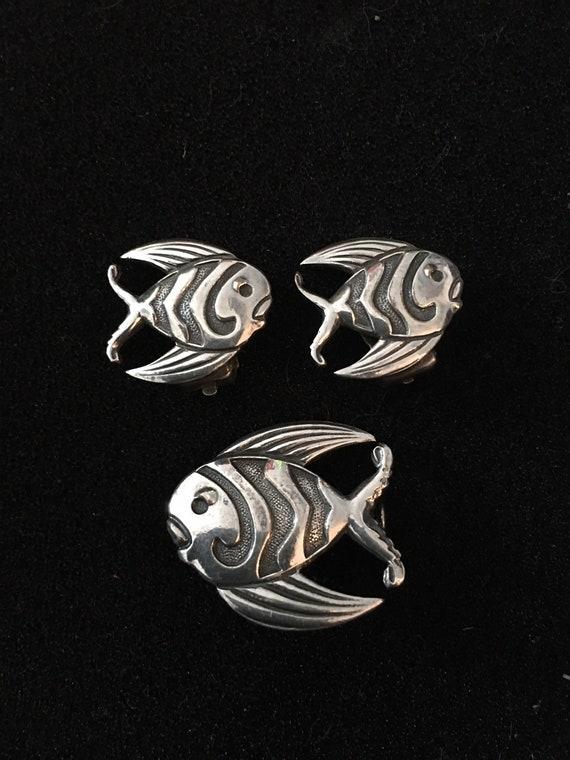 Vintage Fish Set, Fish Earrings, Fish Brooch, Vint