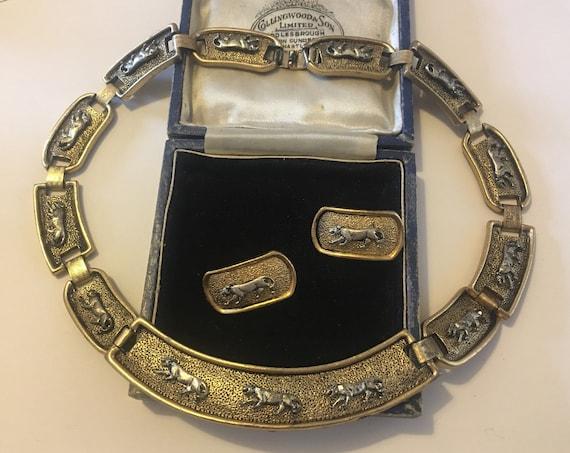 Vintage Panther Necklace, Vintage Panther Set, Pan