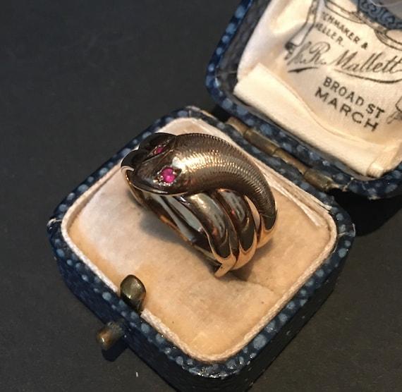 Vintage Gold Snake Ring, Snake Ring,9ct snake, Sna