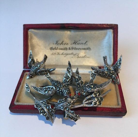 Vintage Bird Set, Vintage Bird Brooch, Bird Earrin