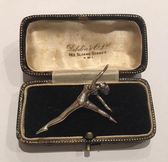 Vintage Ballet Brooch, Silver Ballet Brooch, Danci