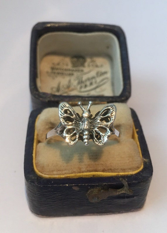 Vintage Butterfly Ring, Vintage silver Butterfly r