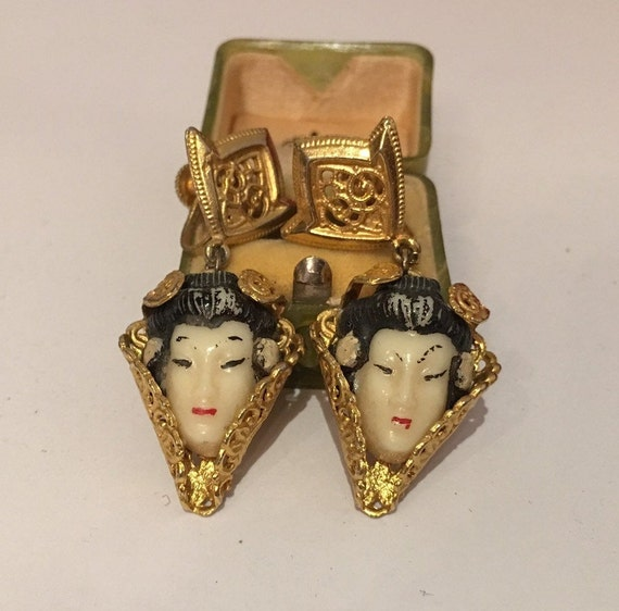 Vintage Earrings, Vintage Face Earrings, Vintage G