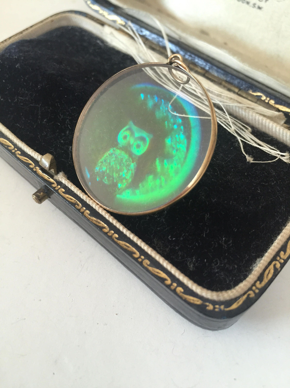 Vintage gold owl and moon hologram pendant necklace fantastic design aloadofball Choice Image