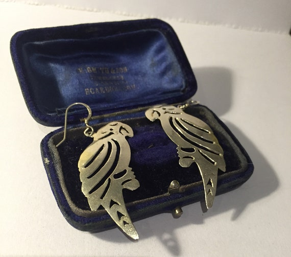 Parrot Earrings, Vintage Parrot Earrings, Parrot J