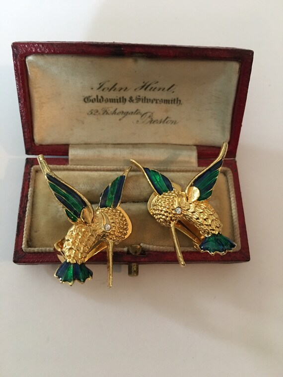 Vintage Bird Earrings, Humming Bird Earrings, Bird
