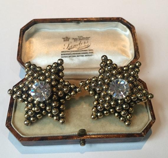 Star Earrings, Vintage Silver Star earrings, Vinta
