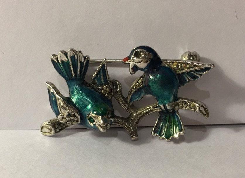f910d8a90 Vintage Bird Brooch, Marcasite bird brooch, Vintage Bird brooch, bird ...