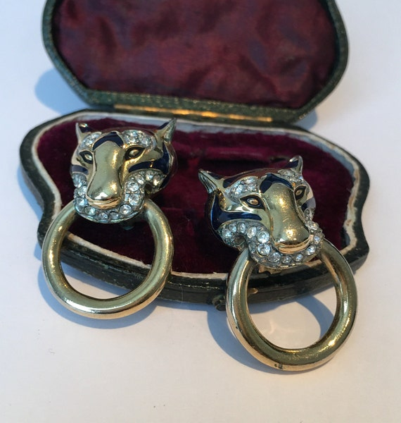 Vintage Panther Earrings, Panther Earrings, Panthe