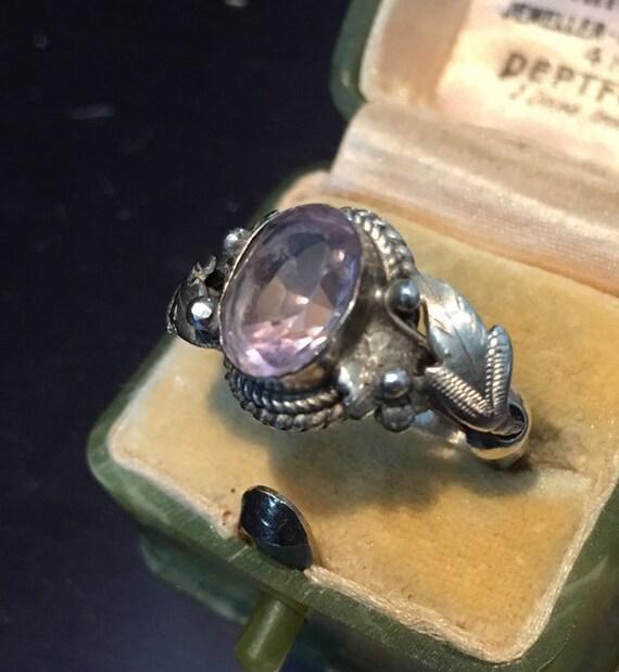 Vintage Amethyst Ring, Amethyst Ring, Silver Ring,