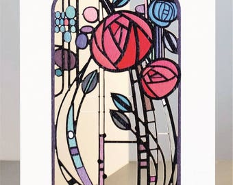 Laser Cut Luxury Blank Greeting Card ~ Rennie Mackintosh Roses