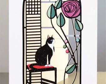 Atemberaubenden Laser Geschnitten Luxus Leere Grußkarte ~ Katze Schwarz Und  Weiß Und Rose