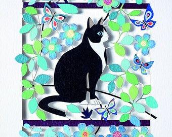 Atemberaubenden Laser Geschnitten Luxus Leere Grußkarte ~ Schwarz Und Weiß  Katze Und Schmetterlinge