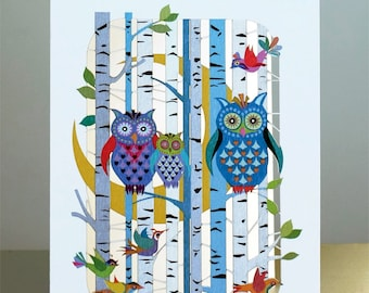 Stunning Laser Cut Luxury Blank Birthday Card ~ Owls in Forest With Moon