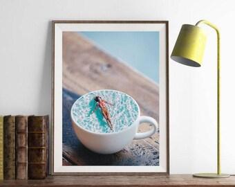 "Coffee art print, surreal collage art, coffee art, ocean art print, woman floating art, blue art print, coffee print - ""chill out""."