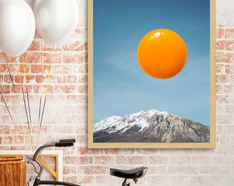 "Minimalist art, food print, egg art print, kitchen poster, surreal collage art, food art print, mountain art print, egg wall art - ""Sunrise"""