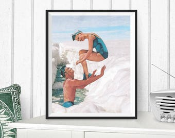 "Collage art, couple art print, retro woman, vintage art, winter print, mixed media collage art, surreal collage, dada print  ""Melt away"""