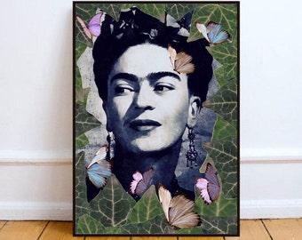 "Frida art, Frida poster, surreal wall art print, Frida portrait, home decor wall art, surreal portrait- ""The one""."