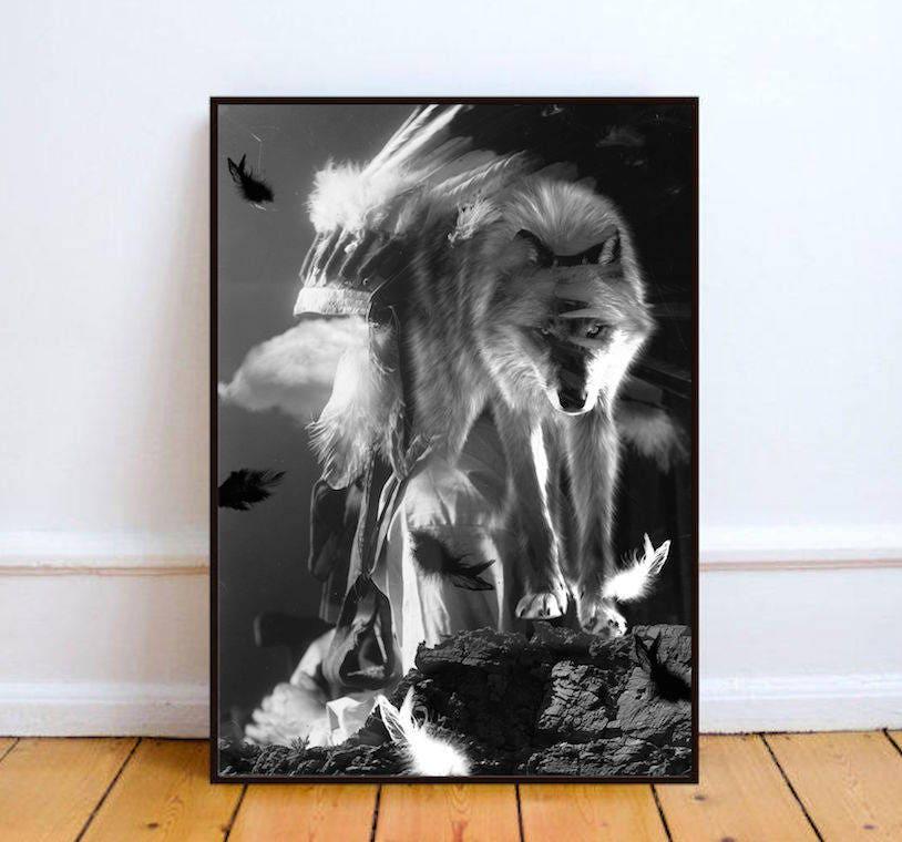 affiche noir et blanc affiche loup affiche animal affiche. Black Bedroom Furniture Sets. Home Design Ideas