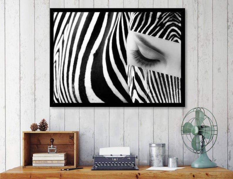 Zebra art print african wall art eye lashes print black and image 0