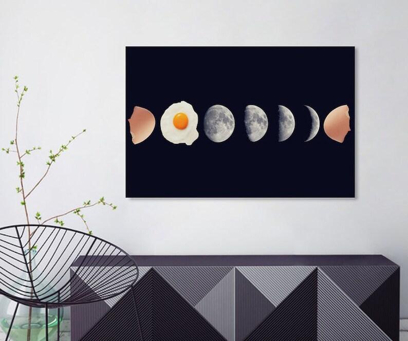 home decor wall art food art print eggs art print Eggs phases. moon phases wall art Moon phases print moon print surreal collage art