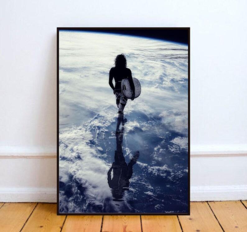 Surf board print surreal collage art surfer art print Earth image 0