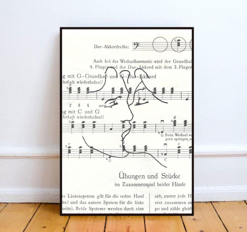 Minimalist portrait one line drawing sheet music art kiss image 0