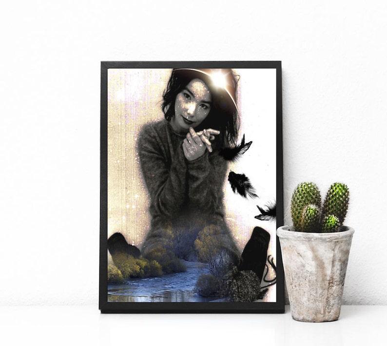Bjork print surreal collage art Björk art print mixed media image 0