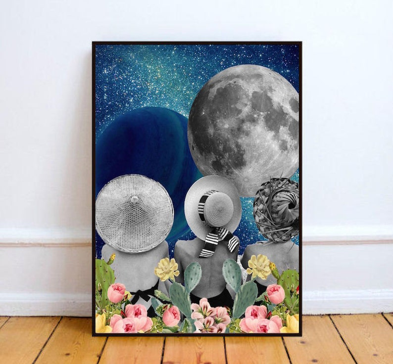 Surreal art moon art print vintage print surreal collage image 0