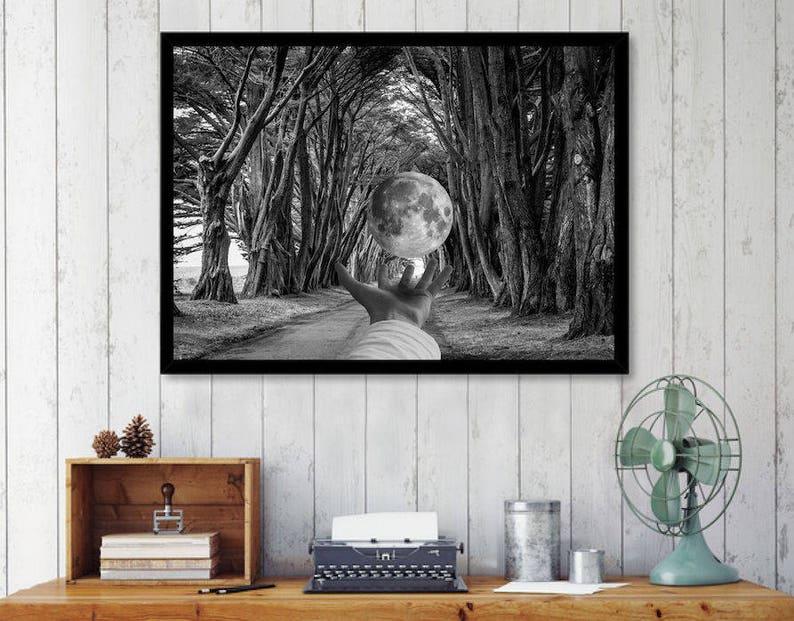 Moon print black and white art print surreal collage art image 0
