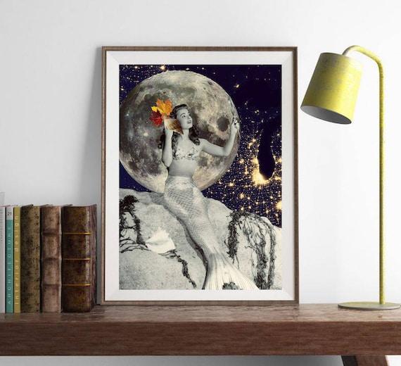 affiche sir ne d coration murale lune affiche surr aliste etsy. Black Bedroom Furniture Sets. Home Design Ideas