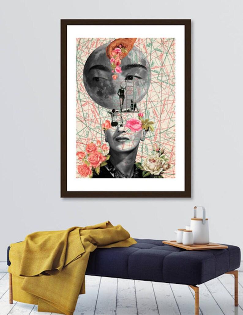 Frida poster Moon art print mixed media collage art surreal image 0
