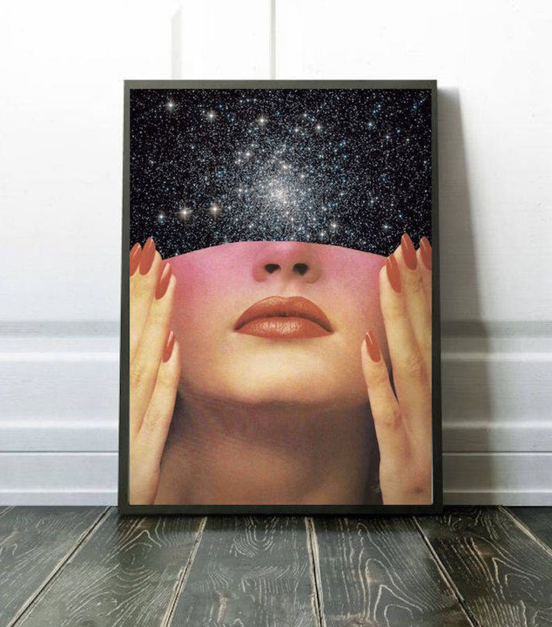 Surreal collage art woman portrait mixed media collage red image 0