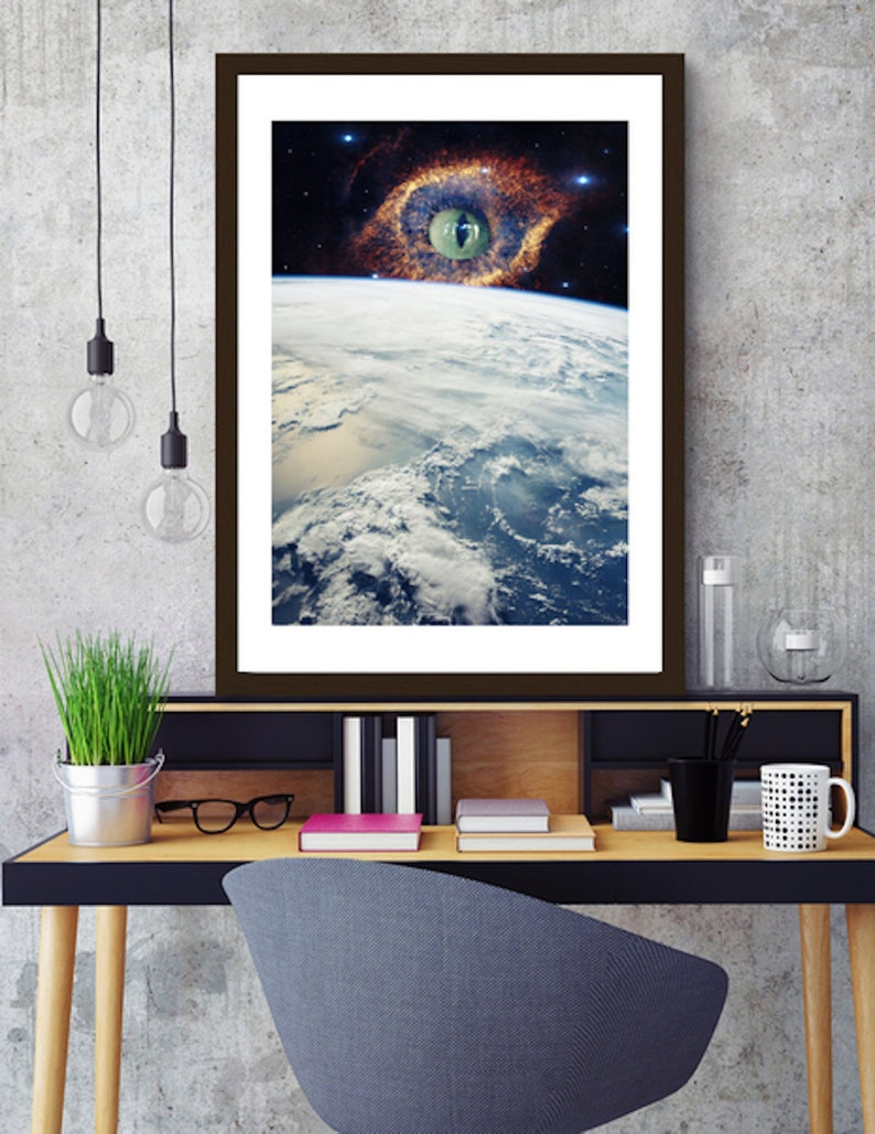 Surreal collage art cat print surreal collage art space cat image 0