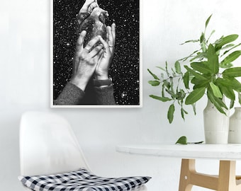 "Heart art print, black and white art, human heart print, collage art, surreal art print, space art, anatomical heart - ""Heart says hold on""."