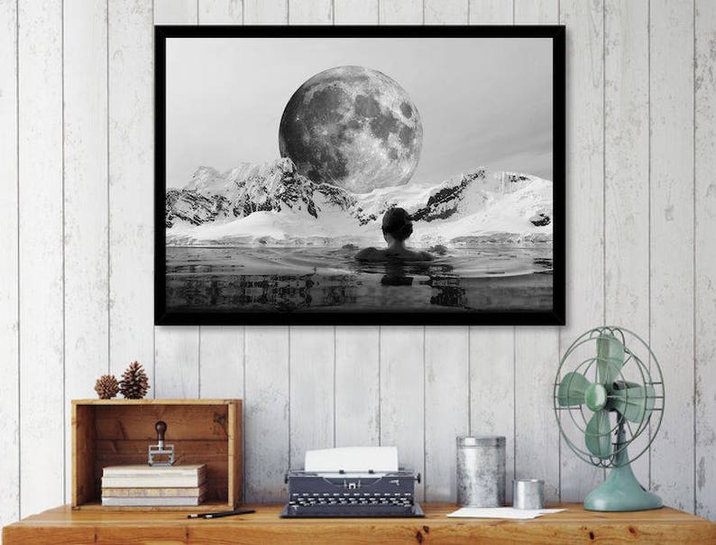 Moon print surreal art print black and white wall art image 0